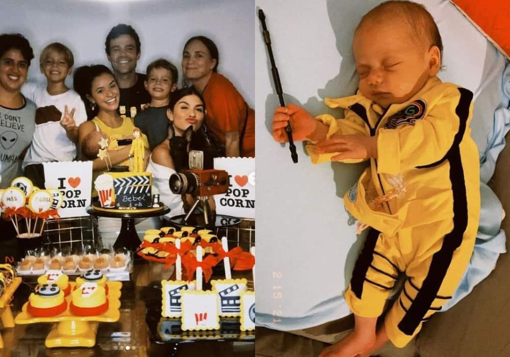 Talita Younan no primeiro mês de sua bebê