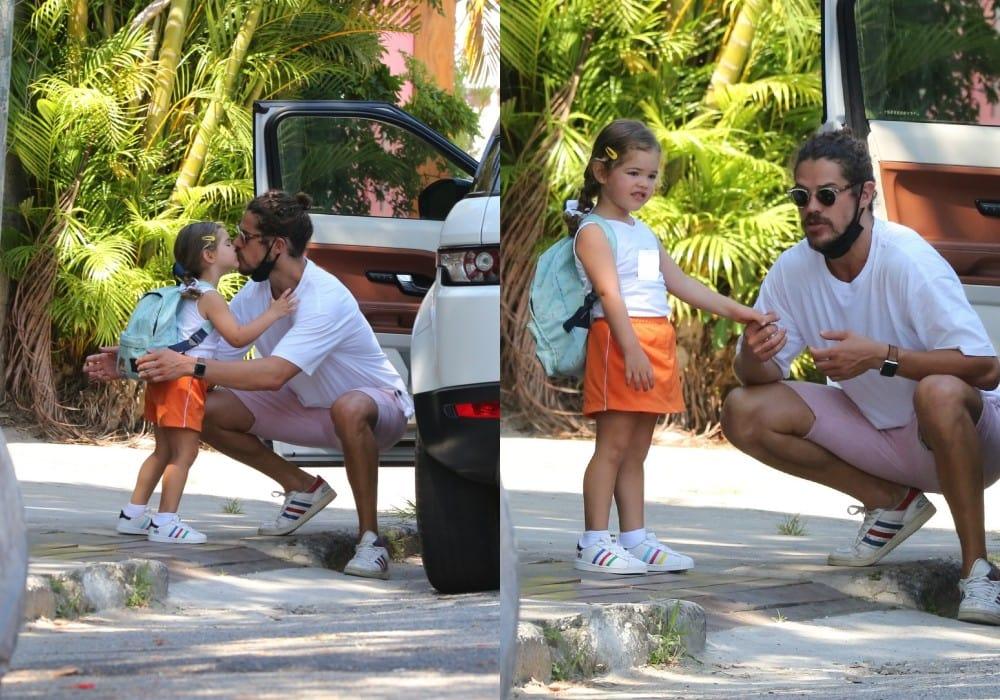 José Loreto com sua filha com Débora Nascimento a caminho da escola