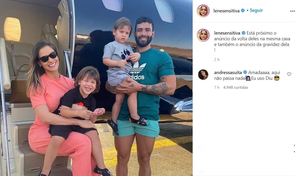 Andressa Suita negou nova gravidez de Gusttavo Lima