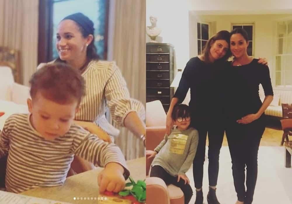 Meghan Markle junto com Archie e esperando outro filho