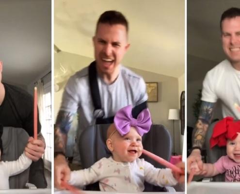 Os internautas se encantaram com a cantoria do pai e da filha