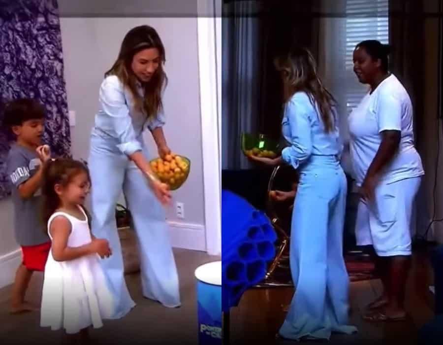 Patrícia Abravanel junto com os filhos e a babá dos pequenos