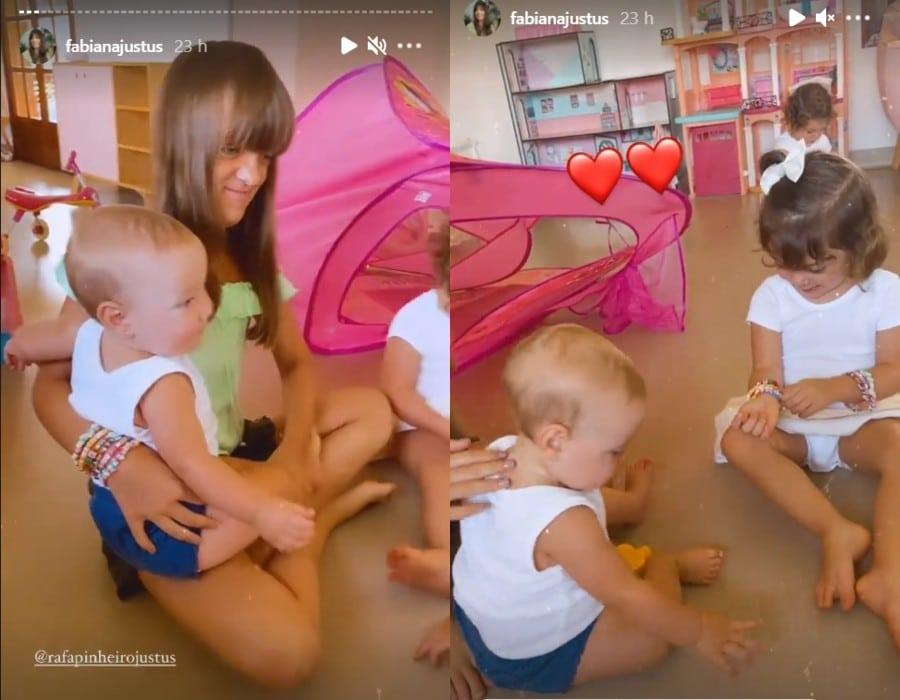 Rafaella Justus em quarto de brinquedos com a irmãzinha