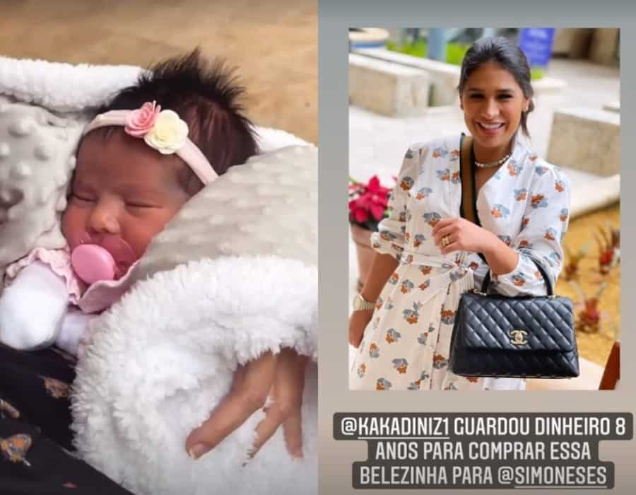 A recém-nascida de Simone e a cantora com sua bolsa