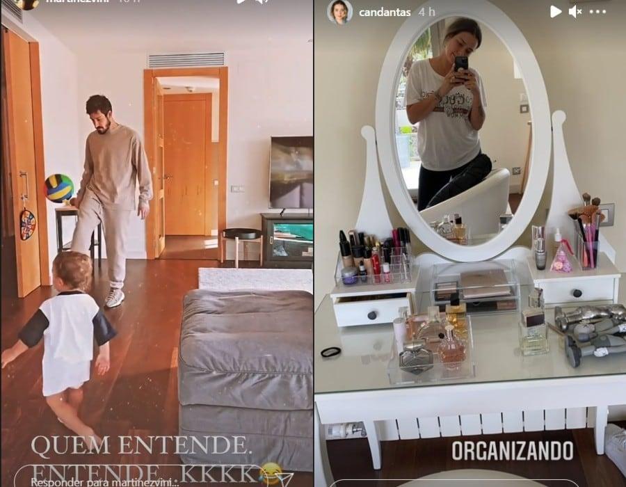Carol Dantas e Vinícius Martinez na casa da família em Barcelona