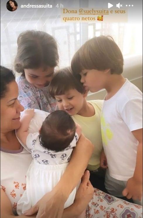 Filhos de Gusttavo Lima com o primo que acabou de nascer