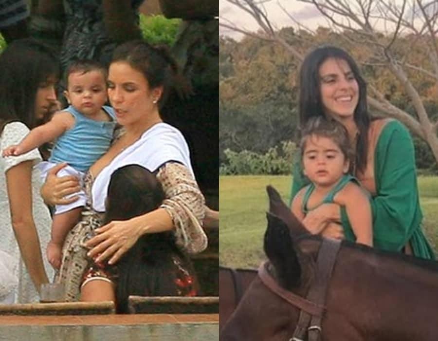 Ivete Sangalo com o filho Marcelo ainda bebê e sua filha Marina com a tia Lívia