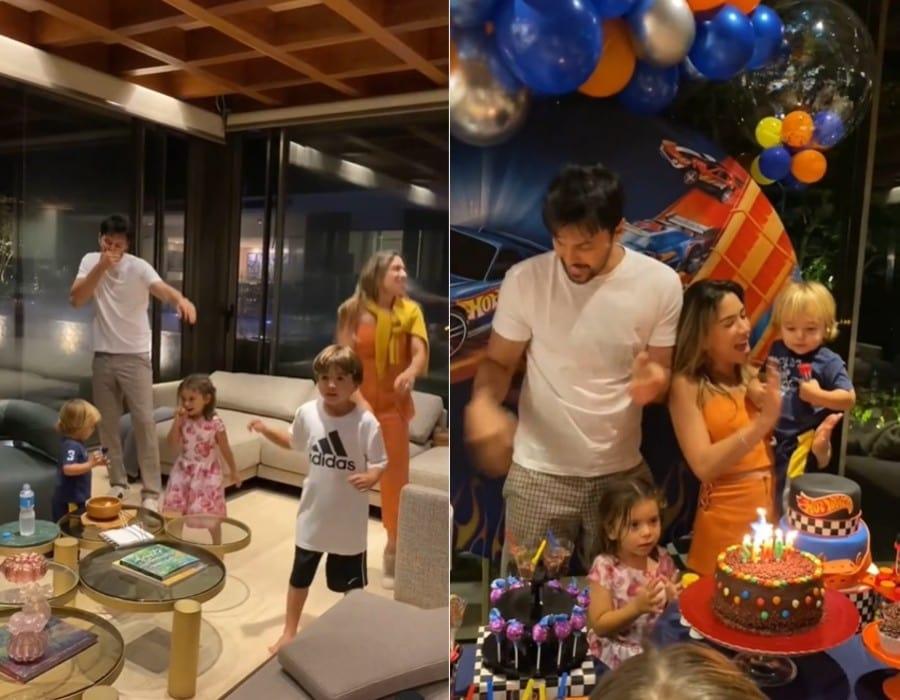 Patrícia Abravanel com a família no aniversário do pequeno Senor