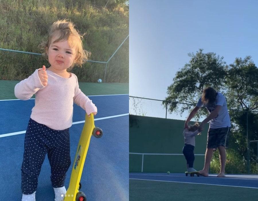 Clara Maria andando de skate com o pai Rafael Vitti