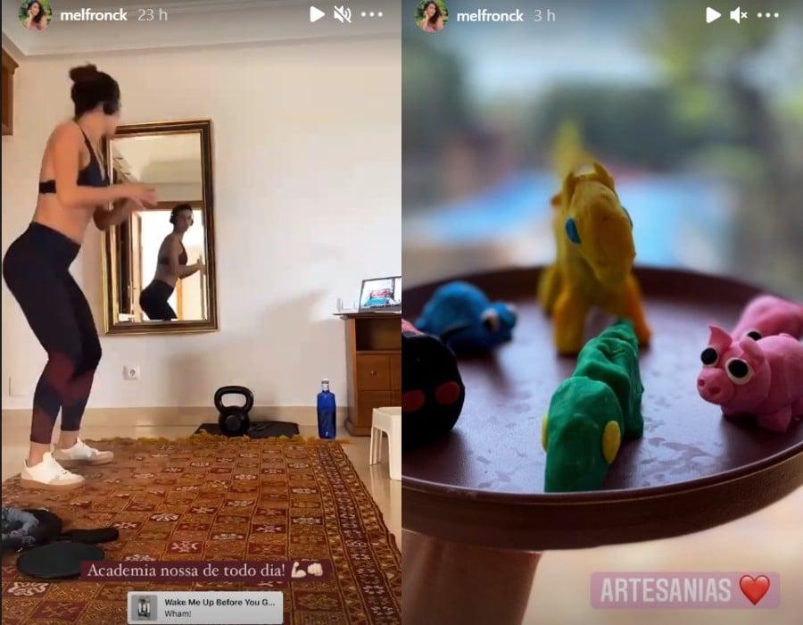 Mel Fronckowiak na nova casa com Rodrigo Santoro e brincando com a filha