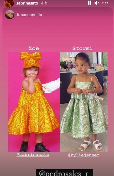Filhas de Sabrina Sato e Kylie Jenner com roupas parecidas