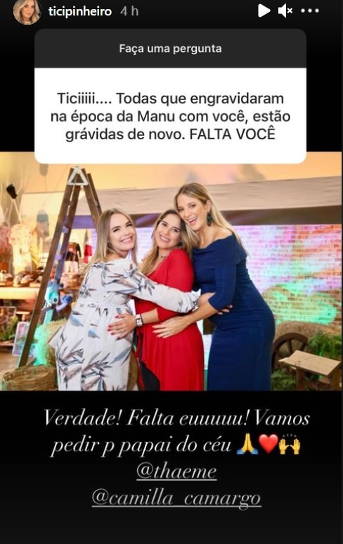 Ticiane Pinheiro com Thaeme e Camilla Camargo, todas grávidas
