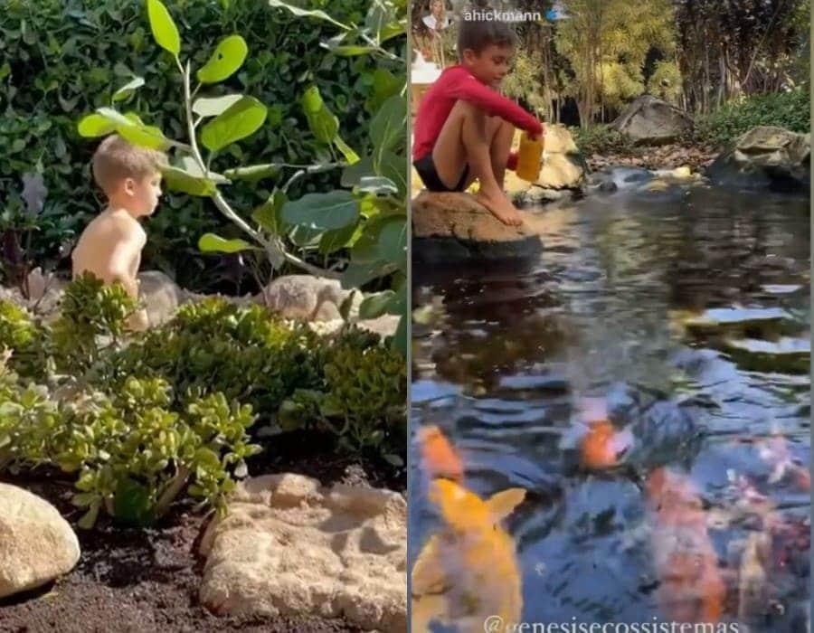 Ana Hickmann mostrando o filho no lago da mansão
