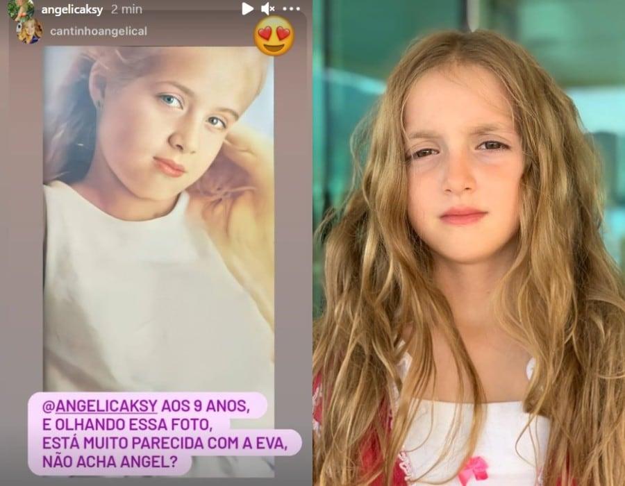 Angélica na infância e sua filha atualmente
