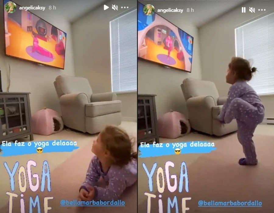 A sobrinha neta de Angélica ao fazer o ioga