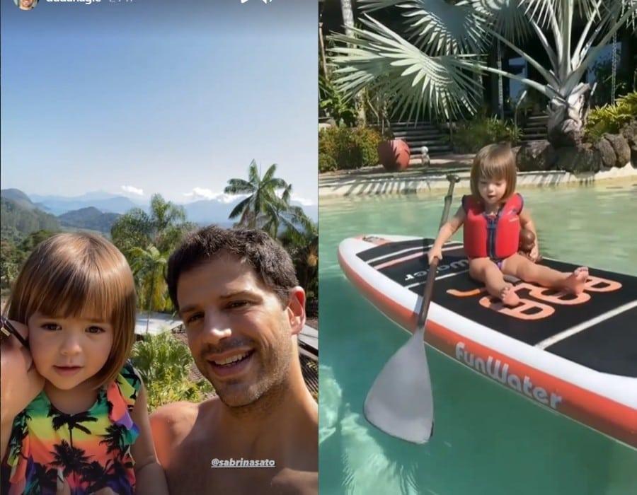 Duda Nagle e Sabrina Sato na ilha particular com sua filha