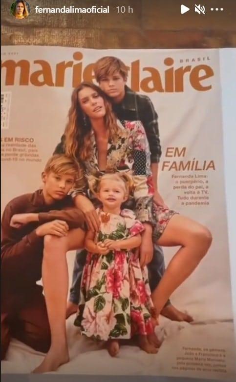 Fernanda Lima e seus filhos com Rodrigo Hilbert em foto rara