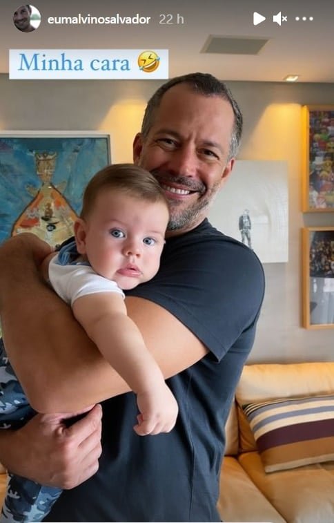 Malvino Salvador com o filho Rayan em foto rara