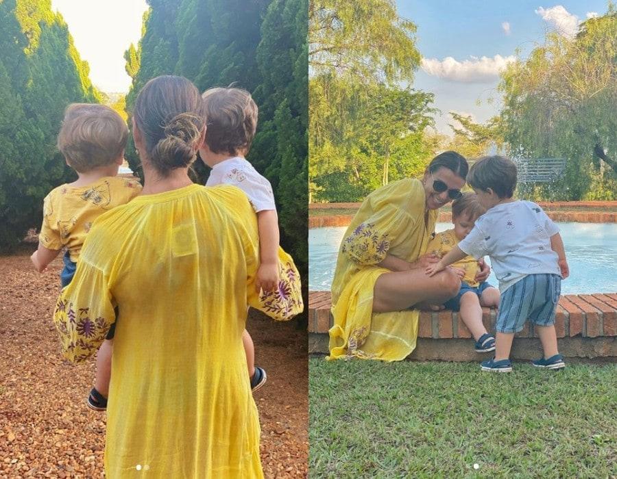 Mônica Martelli com os bebês de Paulo Gustavo