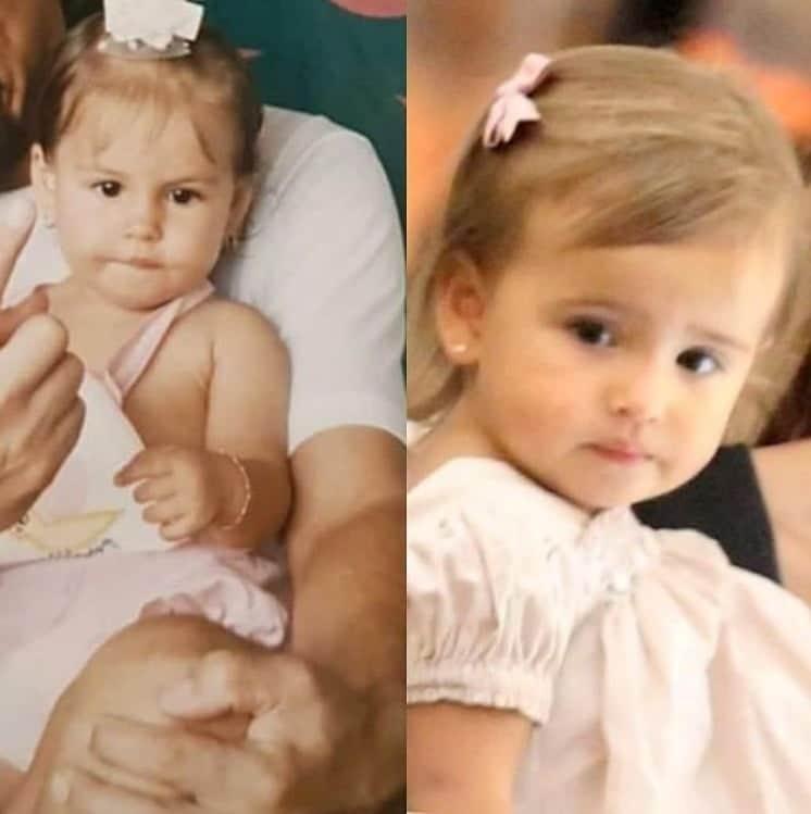 Mel Fronckowiak ainda bebê e sua filha com o ator Rodrigo Santoro