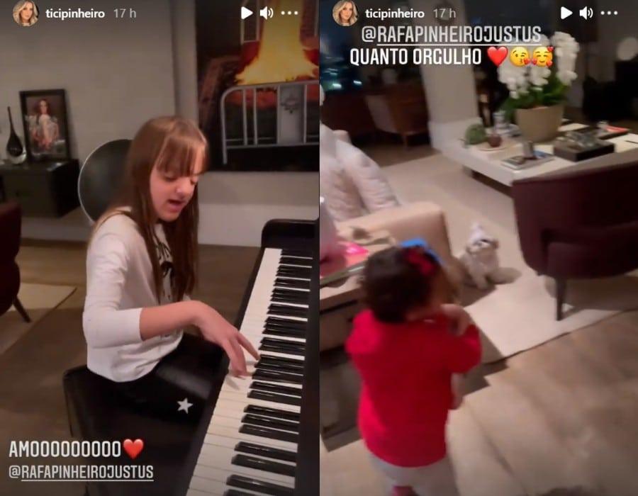 Ticiane Pinheiro mostrando a filha no seu apartamento gigante