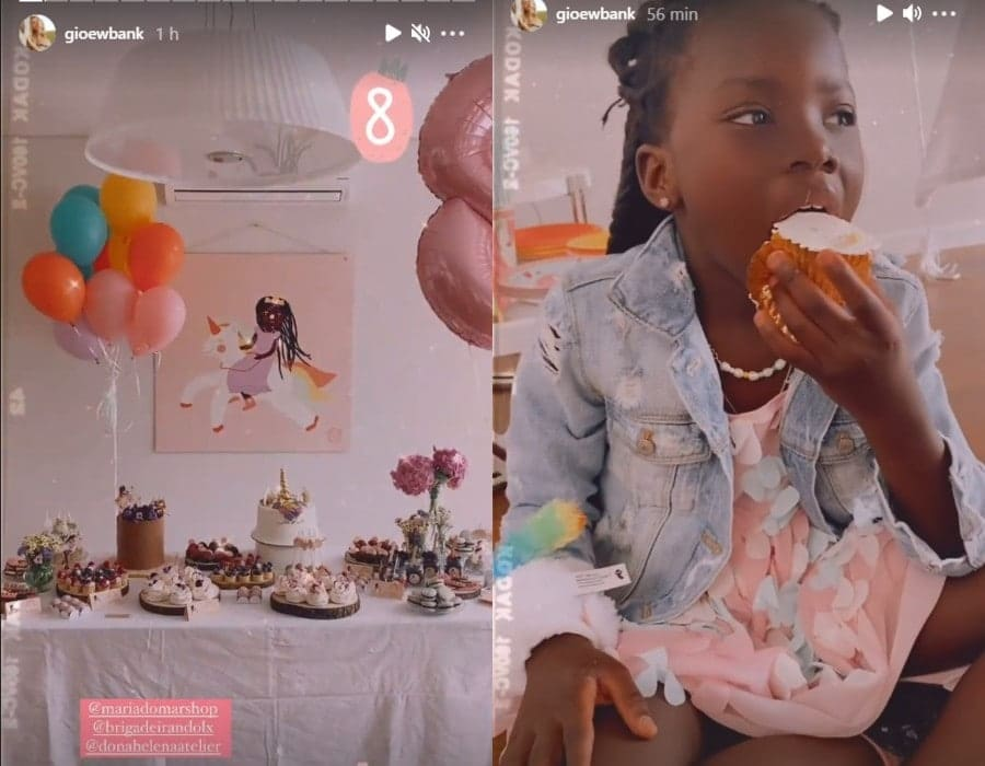 Giovanna Ewbank mostrando a filha no aniversário de oito anos