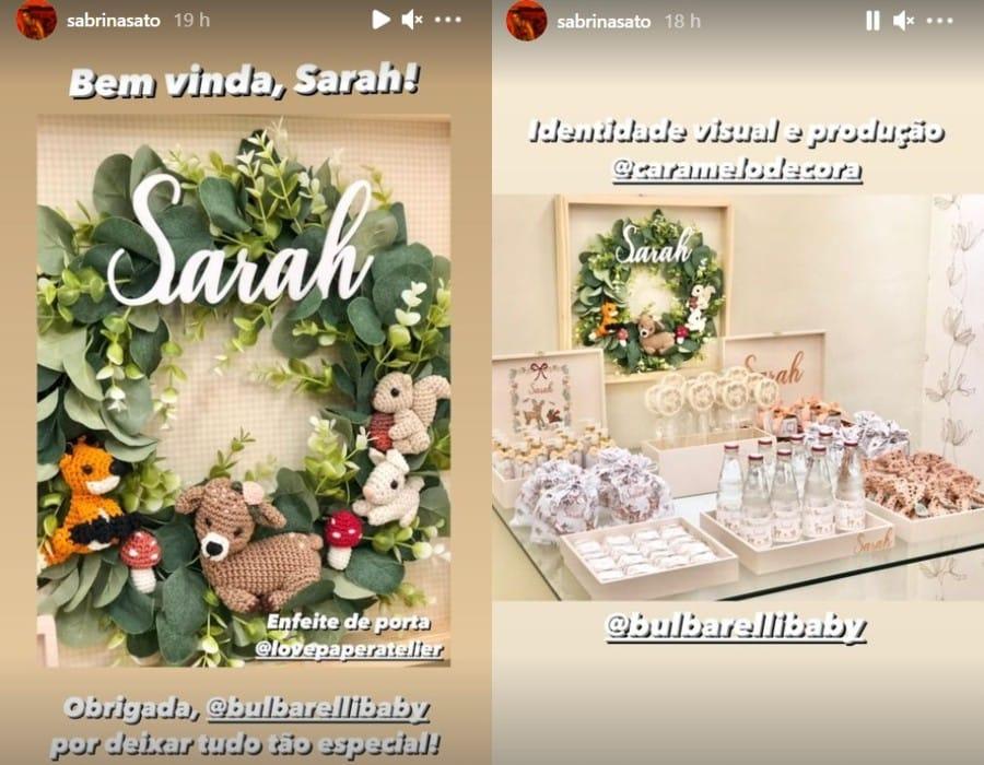 Sabrina Sato fez decoração encantadora para a filha de sua babá que nasceu