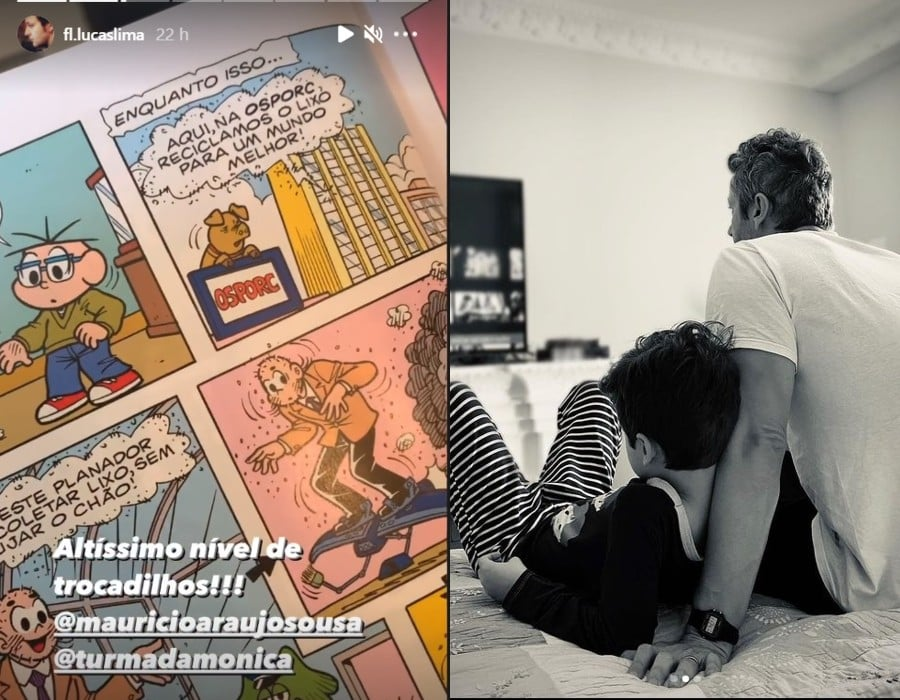 Lucas Lima lendo junto com o filho com Sandy