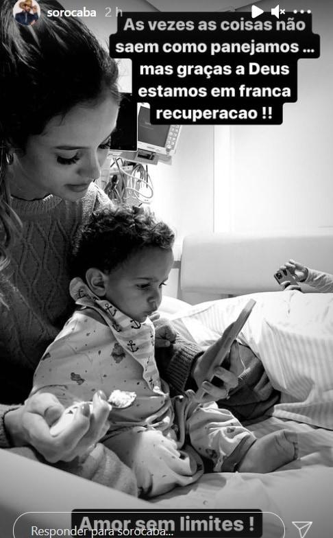 Sorocaba mostrando seu bebê internado, mas melhor de saúde