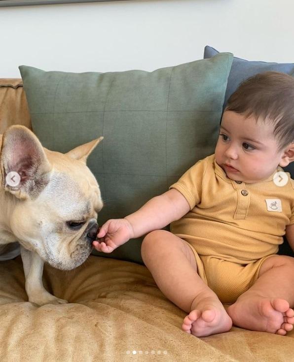 Filho de Sthefany Brito junto com o cachorro da família