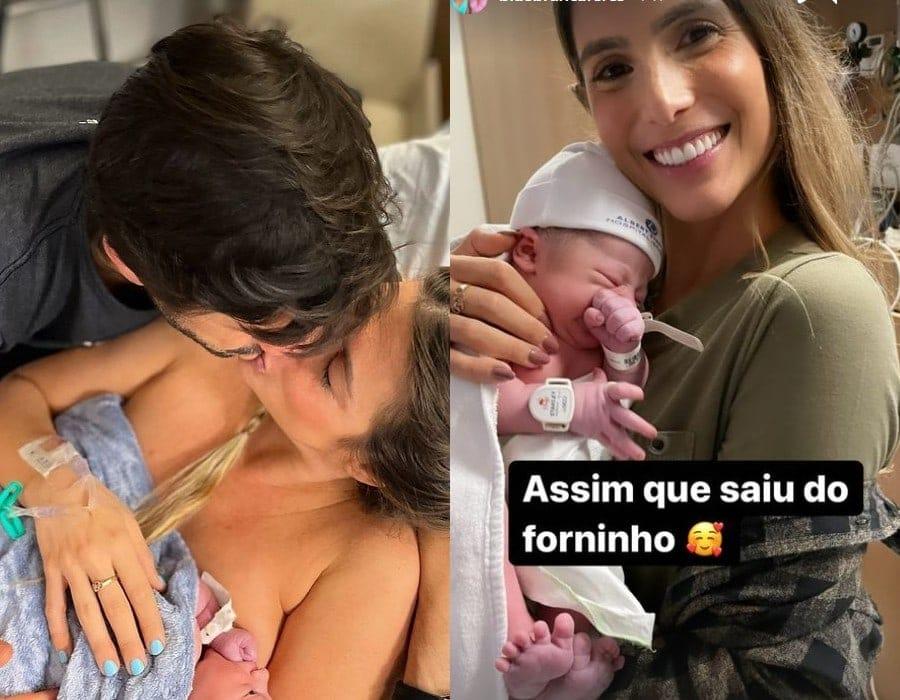 Bia Feres com o filho logo após nascer