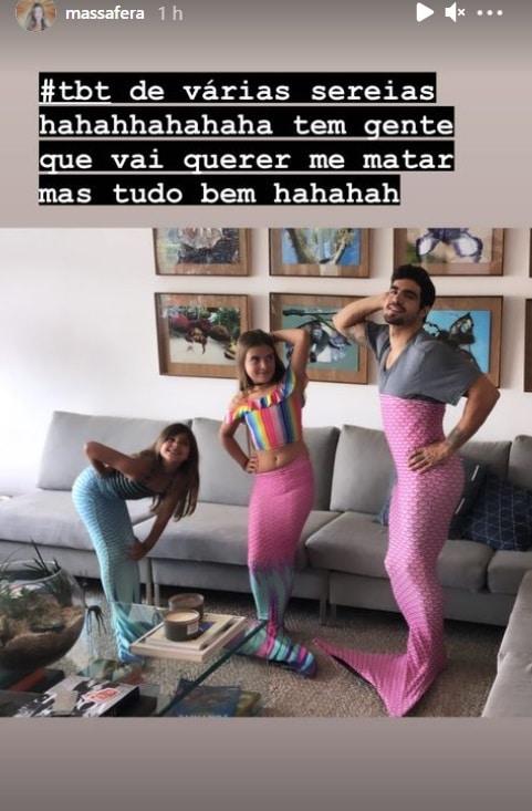 Caio Castro junto com a filha de sua namorada, a atriz Grazi Massafera
