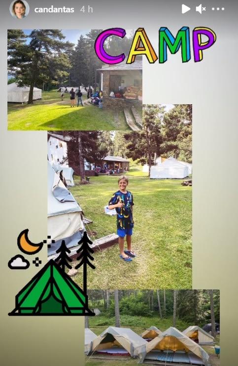 Carol Dantas mostrando o filho com Neymar acampando