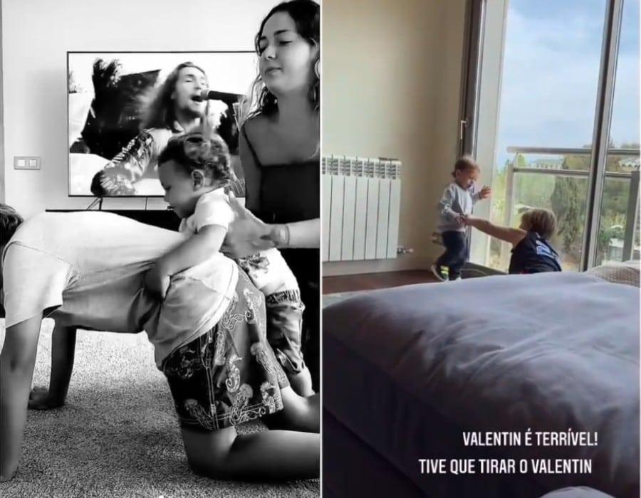 Carol Dantas e os filhos na casa nova de sua família