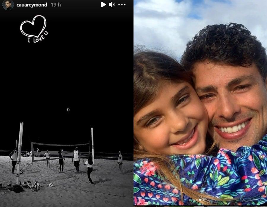 Cauã Reymond mostrando a filha ao jogar vôlei
