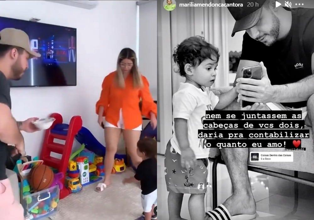 Marília Mendonça com seu namorado e o bebê do casal