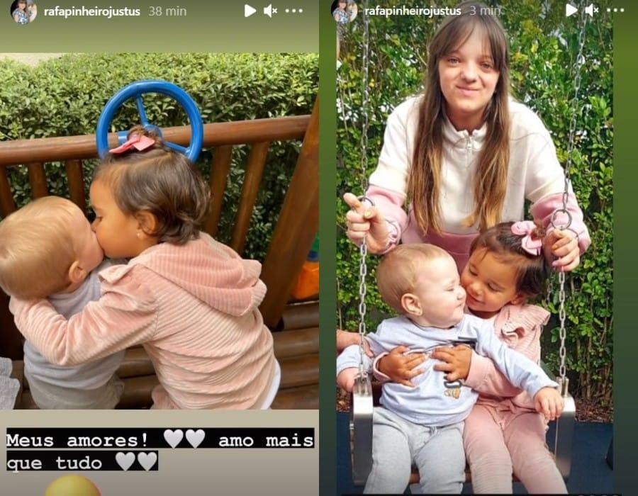Encontro das filhas mais novas de Roberto Justus e Ticiane Pinheiro