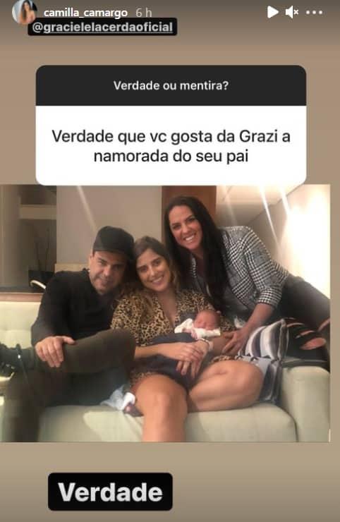 O filho recém-nascido de Camilla Camargo ao lado de Graciele Lacerda