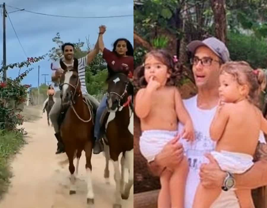 Marido de Ivete Sangalo junto com os filhos deles
