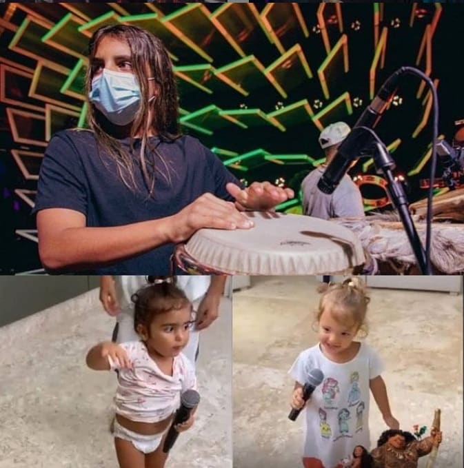 Ivete Sangalo mostrando seus três filhos