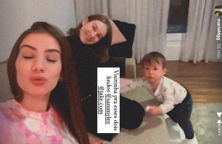 Sammy ao lado do filho e de Maria Lina
