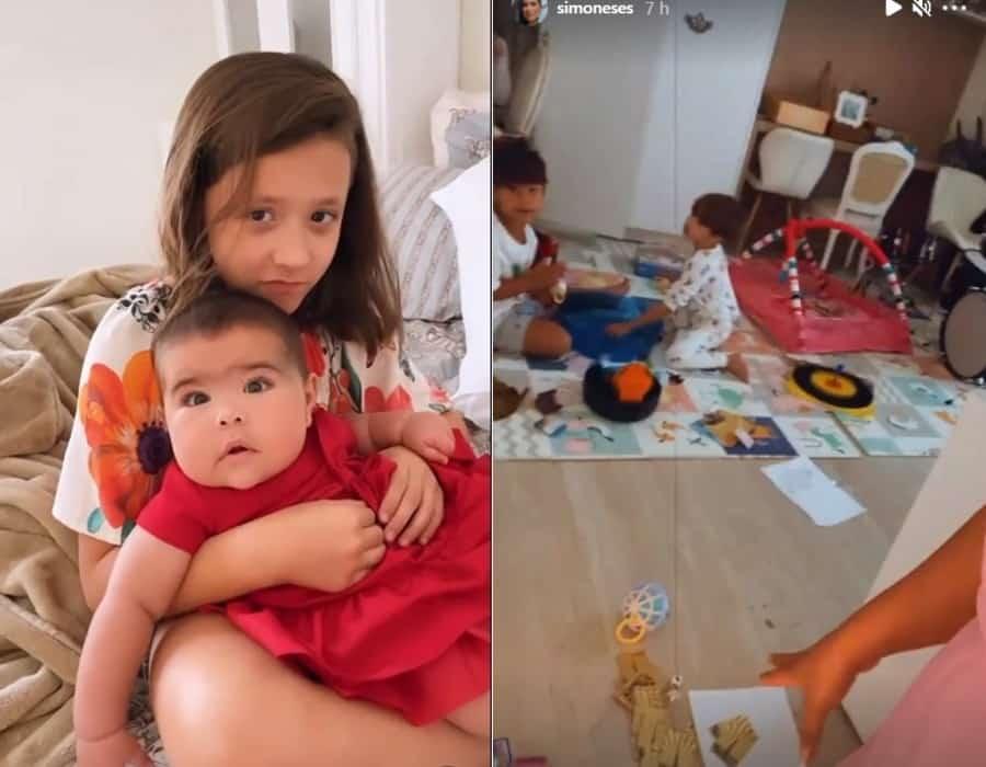Simone mostrando os filhos de Simaria