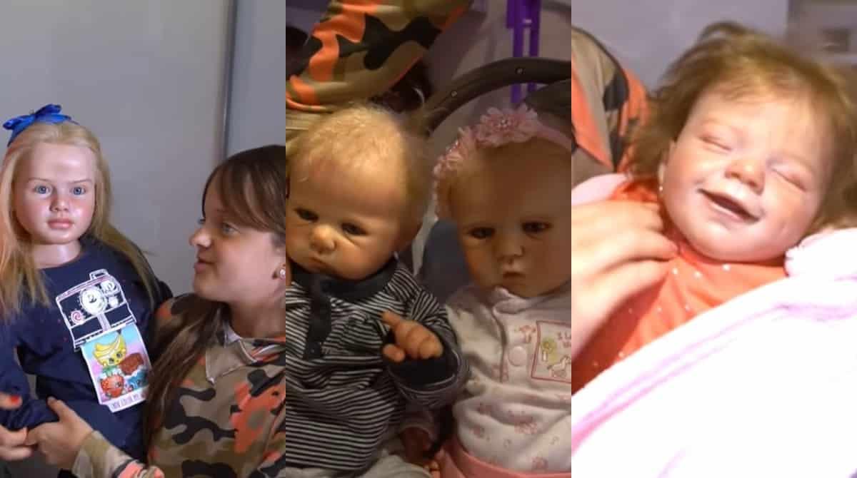 Ticiane Pinheiro mostrando outras das bonecas reborn de Rafinha