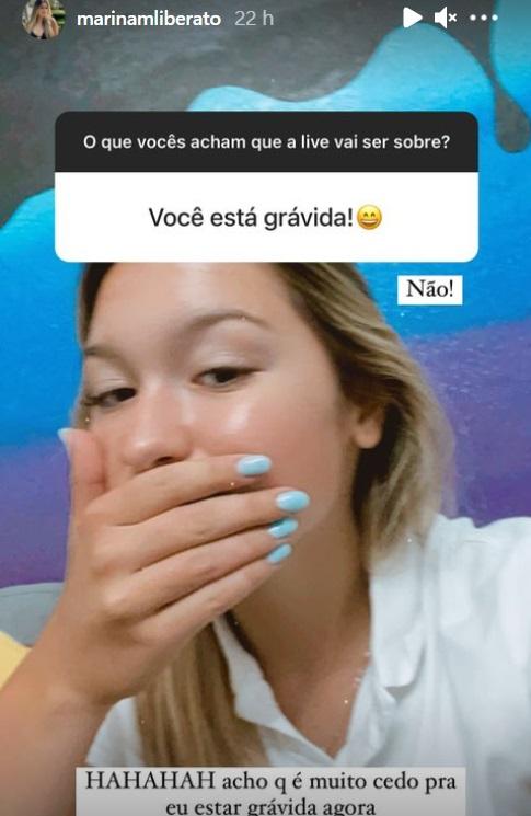 Filha de Gugu Liberato contando que não está grávida