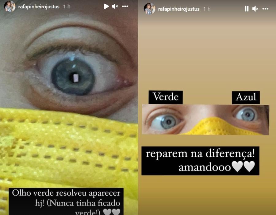 Rafaella Justus mostrando que seus olhos acabaram ficando verdes