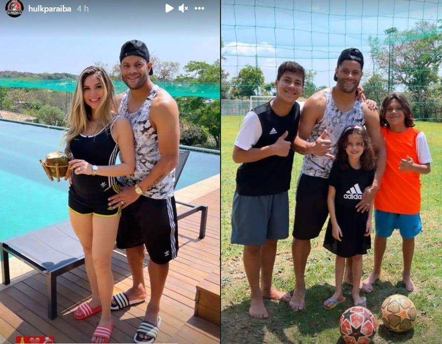 Hulk junto com a esposa Camila e os filhos