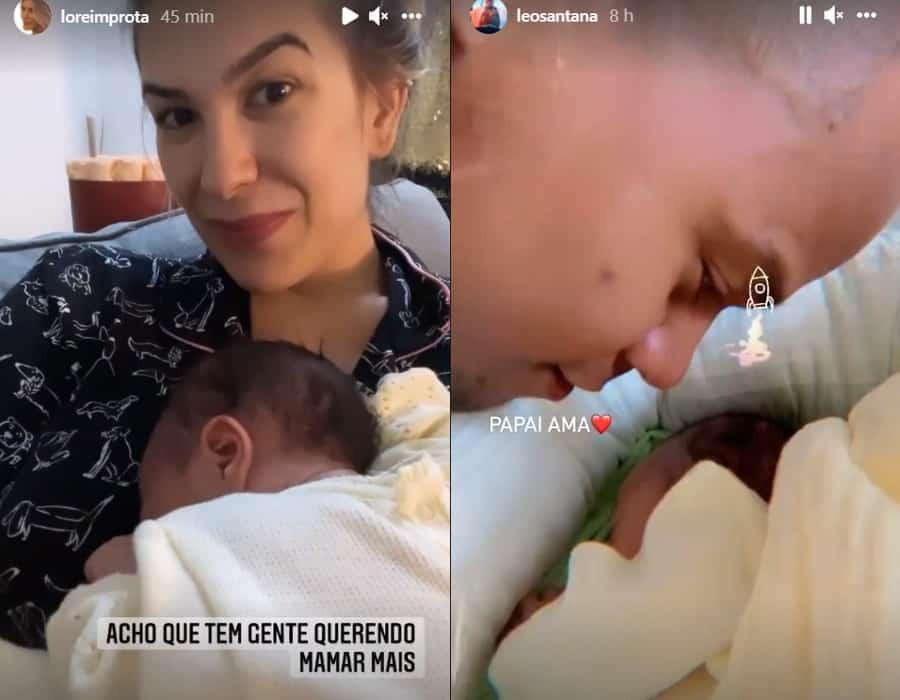 Lorena Improta e Léo Santana juntos com sua recém-nascida Liz
