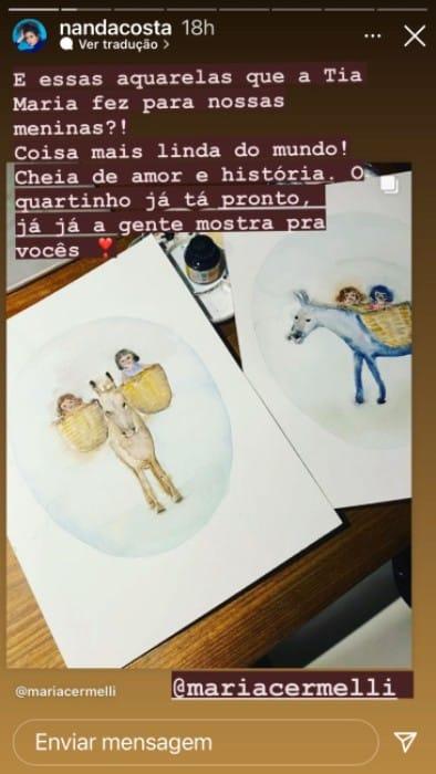 Nanda Costa ganhou lindas aquarelas que são cheias de significado para a família