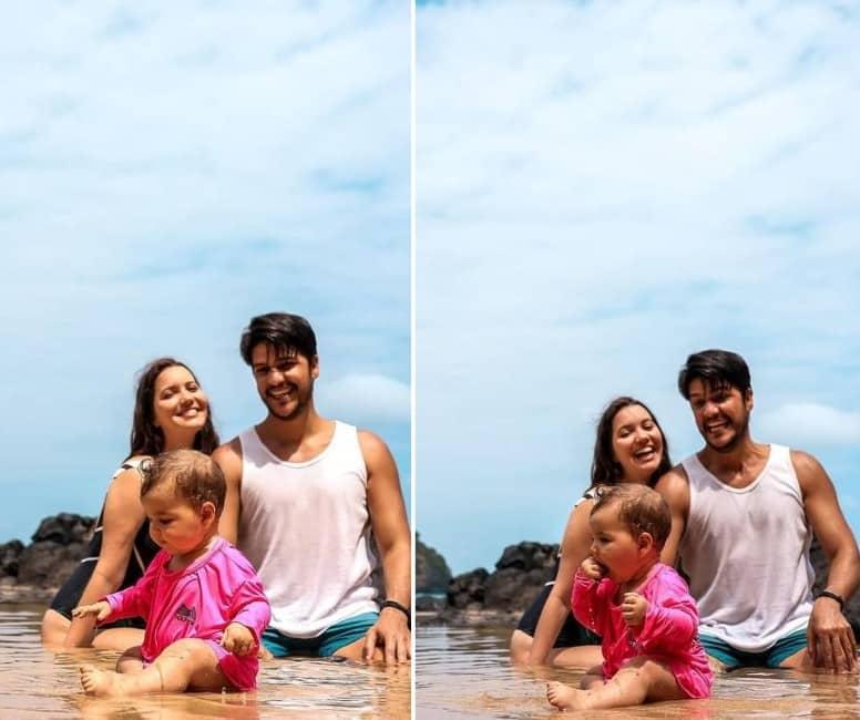 Nathalia Dill e Pedro Curvello com a pequena Eva, em Fernando de Noronha